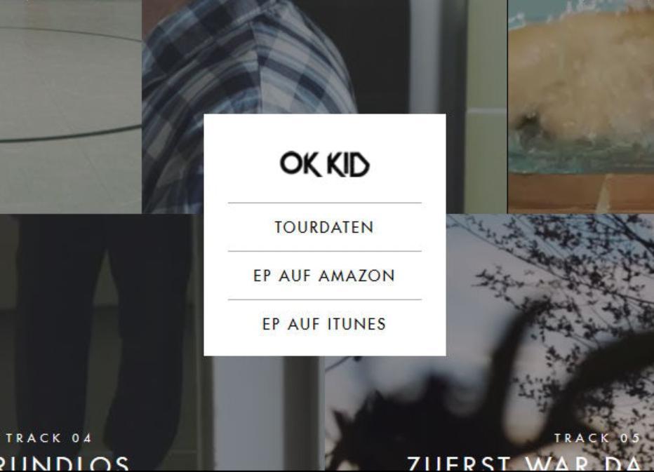 Mẫu menu website OK Kid